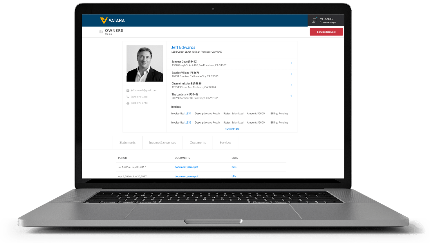 Vatara Property Management Software Owner Portal