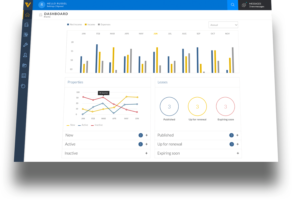 Property Management Software Dashboard
